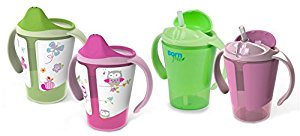 Born Free Grow with Me 6 oz Training Cup & Straw Cup Set, Pink by B&F