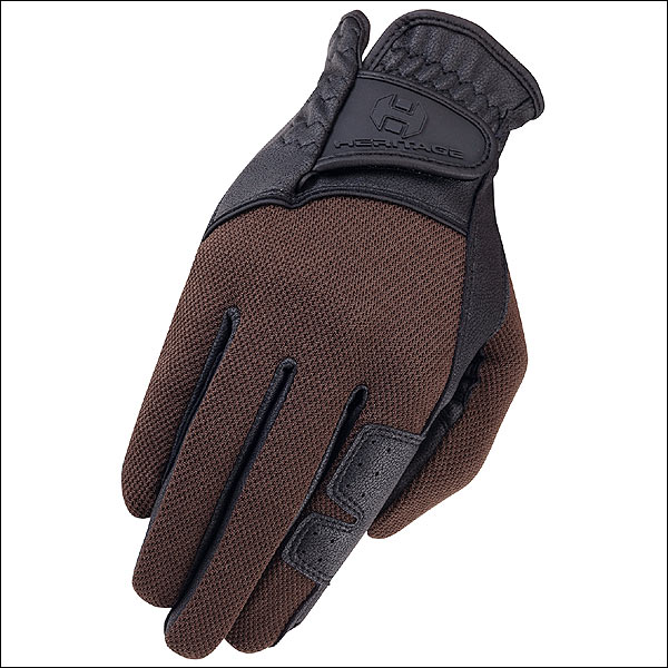 09 SIZE HERITAGE X-COUNTRY GLOVE HORSE RIDING LEATHER STRETCHABLE BLACK BROWN by HERITAGE GLOVES
