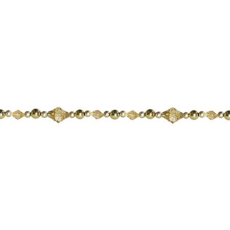 8' Dazzling Diva Shiny and Matte Gold Beaded Christmas Garland