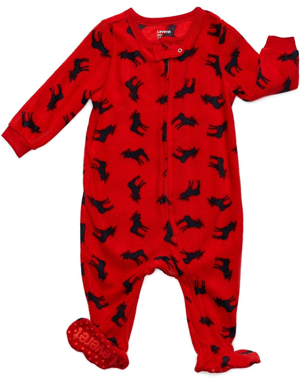 Leveret Fleece Footed Pajama Sleeper Moose 3 Toddler