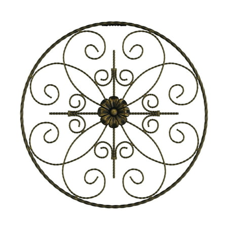 Medallion Metal Wall Art- 14 Inch Round Metal Home Decor, Hand Crafted with Distressed Finish- Mounting Screws Included by Lavish Home ()