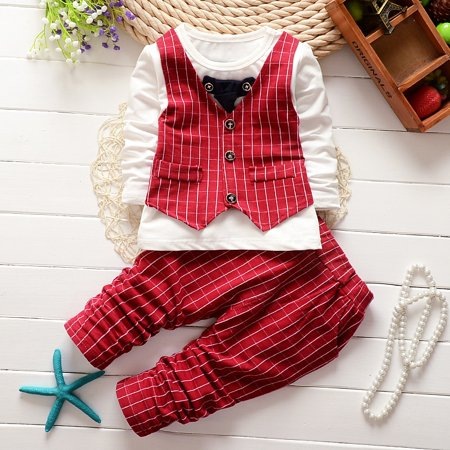 Plus Outfits (Enjoyofmine Formal Baby Boys Suit Long Sleeve Striped Tops Shirt Plus Pants 2Pcs Gentleman Cotton)