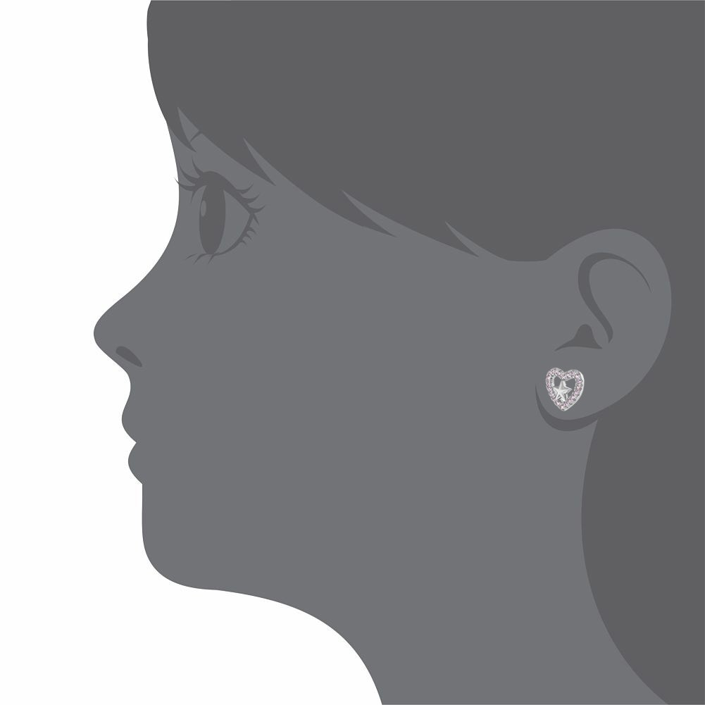 925 Sterling Silver Pink CZ Open Heart Star Stud Earrings for Girls or Teens - image 3 of 5
