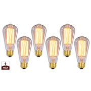 Royal Designs 6 Pack Vintage Antique Edison Style Incandescent Light Bulbs 60-Watt Clear