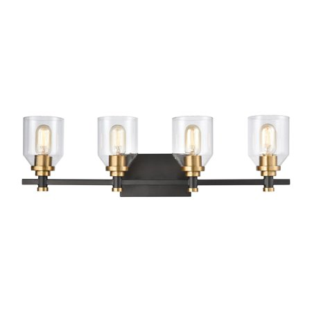 Cambria 4-Light Vanity Light in Matte Black with Clear Glass