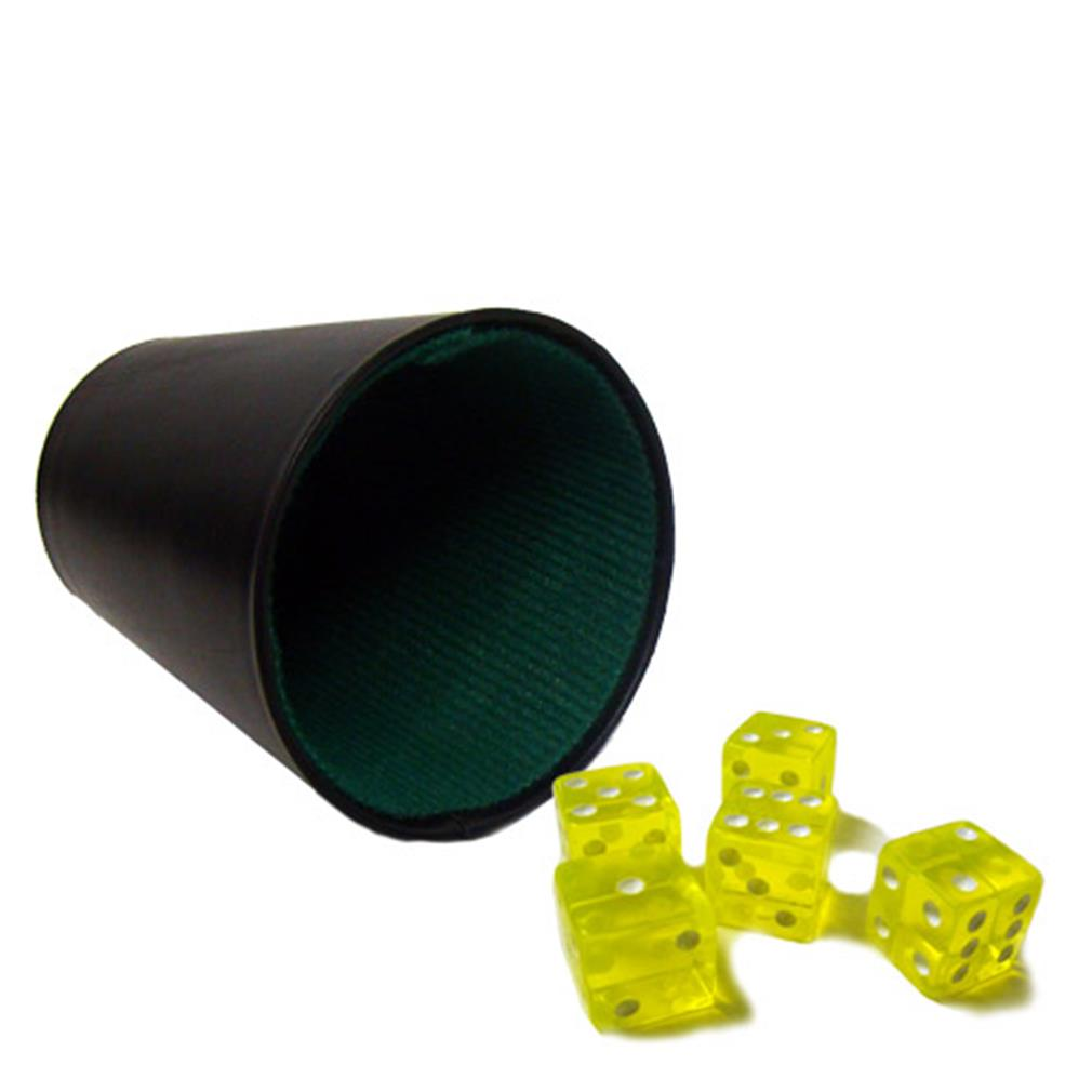 """5 Yellow 16mm Dice with Plastic Cup"""
