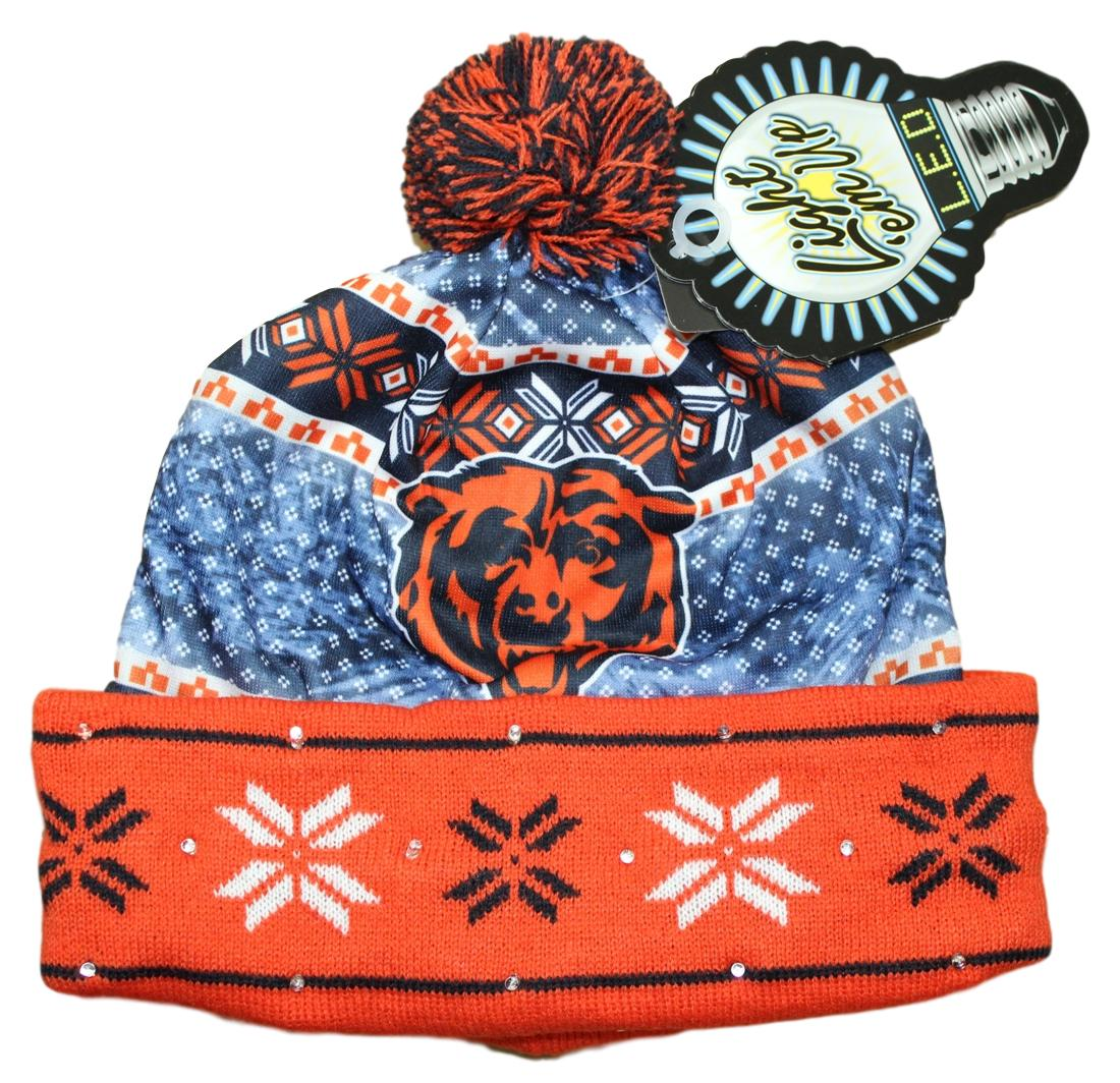 """Chicago Bears NFL """"Ugly"""" LED Light Up Cuffed Knit Hat with Pom by Forever Collectibles"""