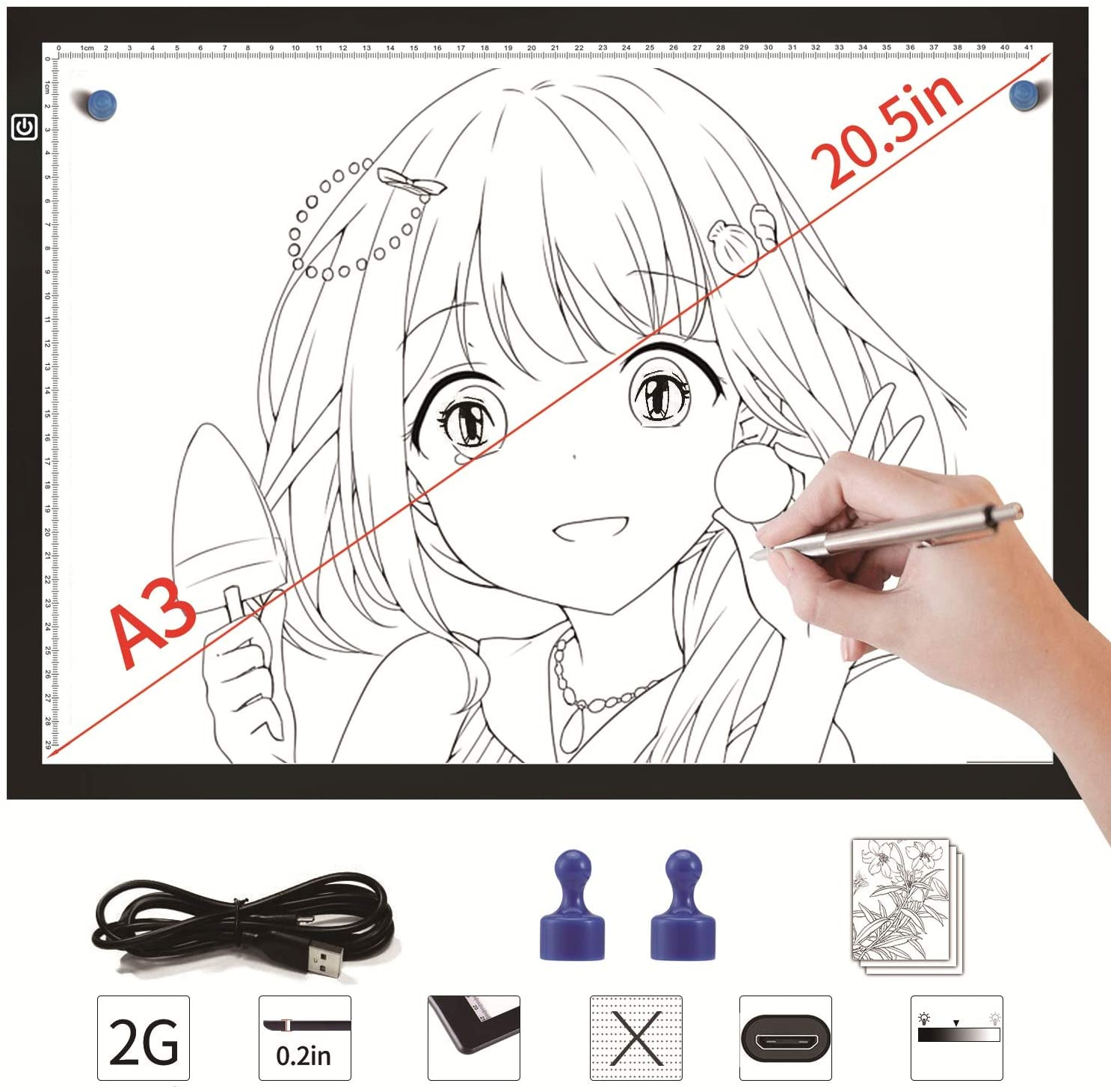 DONPODER A3 Large LED Light Box Pad Board for Tracing Artists Drawing Diamond