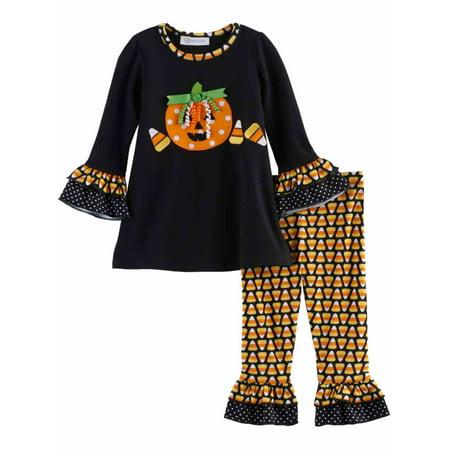 infant toddler girls black pumpkin halloween outfit shirt leggings set walmartcom