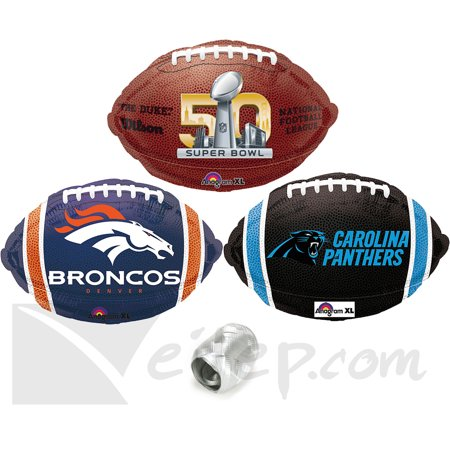 Broncos Panthers Super Bowl Face Off Football Party Mylar 4Pc Balloon Pack