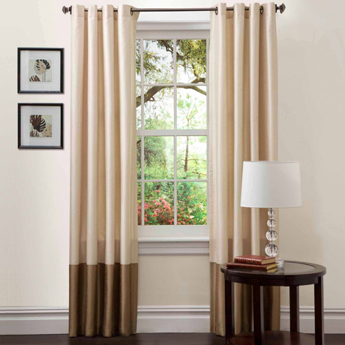"Prima Ivory/Taupe Window Curtains, Pair, 54"" x 84"""