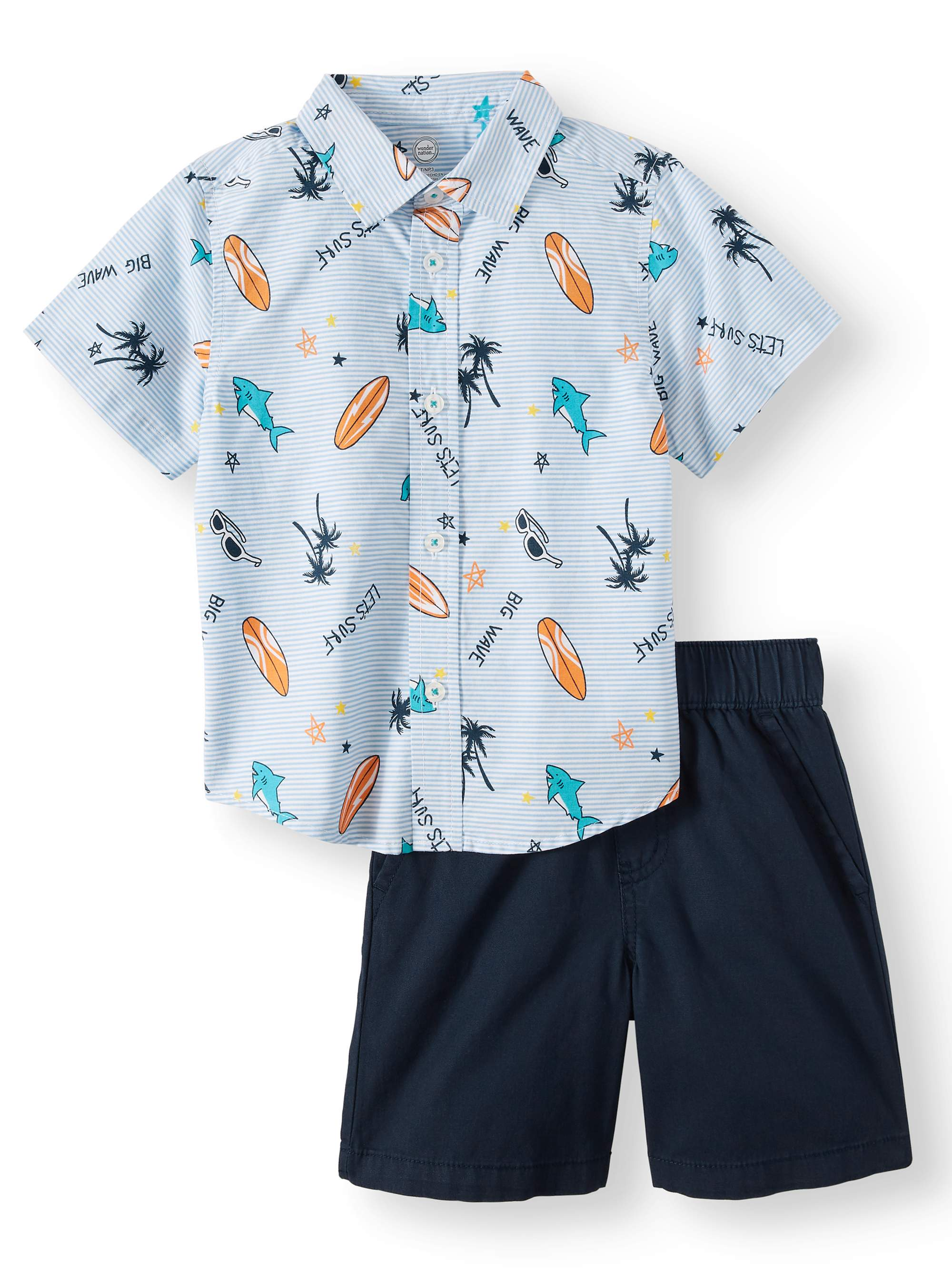 f271b35a4 Wonder Nation - Short Sleeve Button Down & Shorts, 2pc Outfit Set (Toddler  Boys) - Walmart.com