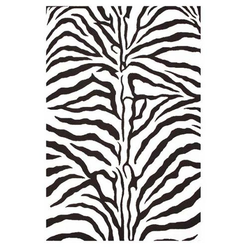 Acura Homes Contemporary Hand-Tufted Zebra-Stripe Wool Rug (5' x 8')