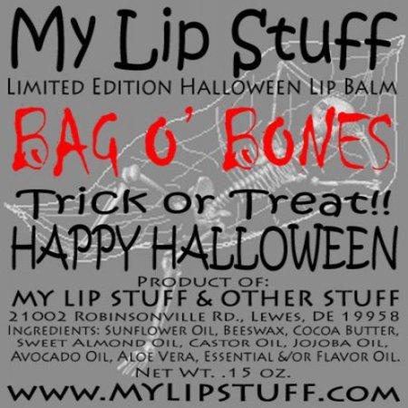 My Lip Stuff- BAG O BONES (Snow Cream flavor) LIMITED EDITION HALLOWEEN LIP BALM