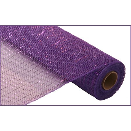 21 Inches x 30 Feet Metallic Mesh Roll for Decorations (Purple/Purple Metallic Foil)