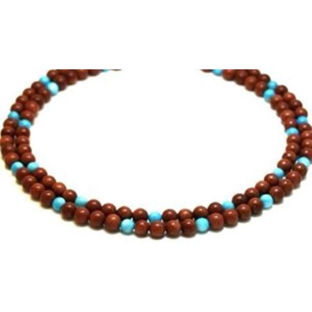 Long Three Strand (Gemstone Necklace 2 Strands Goldstone and Amazonite Beads Beaded Necklace 17