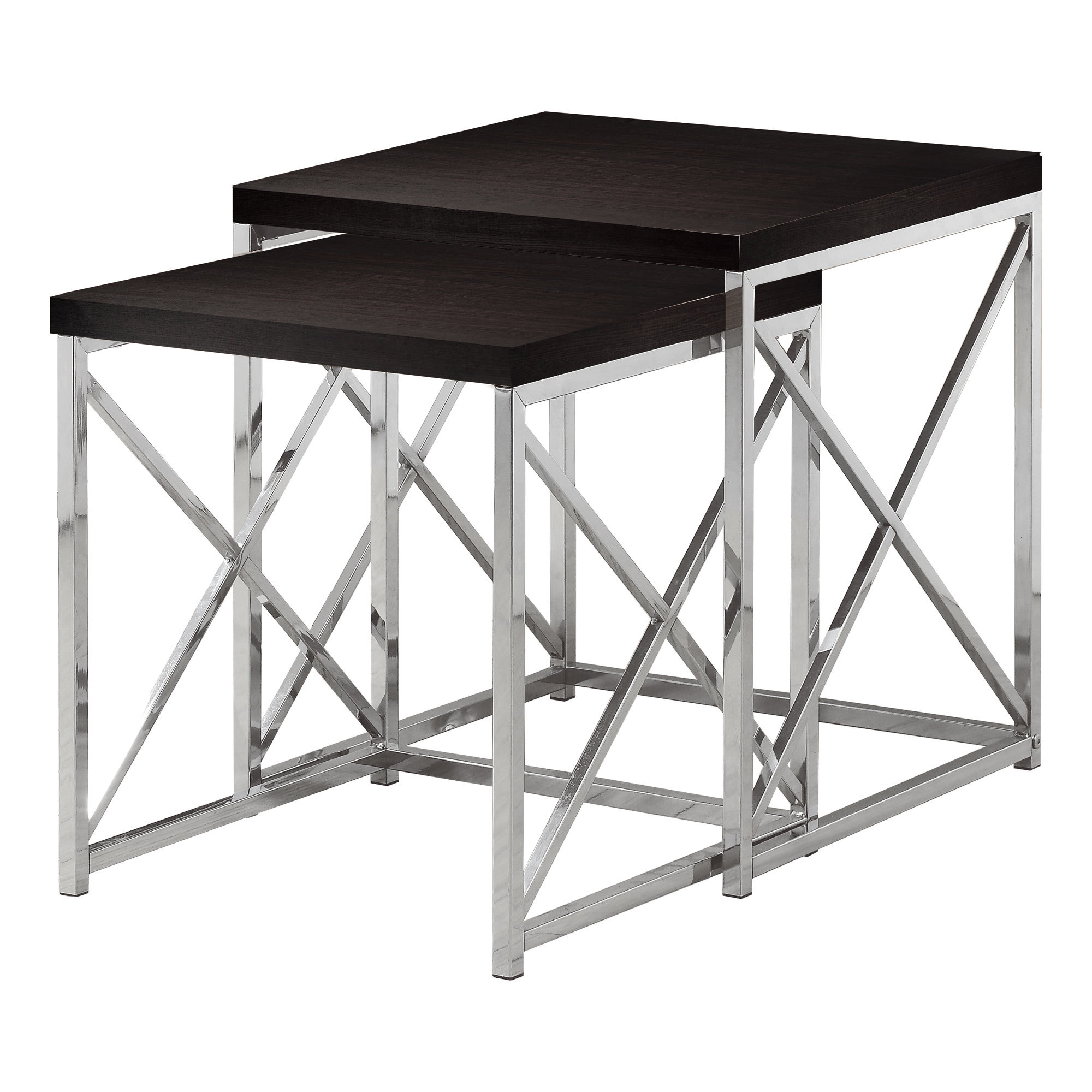 NESTING TABLE - 2PCS SET / CAPPUCCINO WITH CHROME METAL