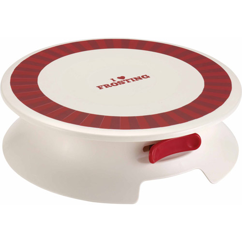 "Cake Boss Decorating Tools Plastic Cake Decorating Turntable, Cream with ""I Love Frosting"" Decal"