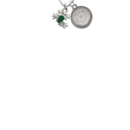 Silvertone Mini Green Tree Frog Sun Sea Sand Serenity Engraved Necklace