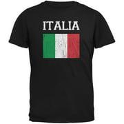 World Cup Distressed Flag Italia Black Youth T-Shirt - Youth Medium