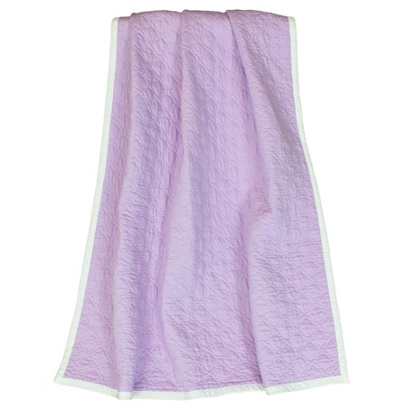 The Peanut Shell Baby Girl Blanket - Reversible Purple and White - Zoe Quilted Coverlet