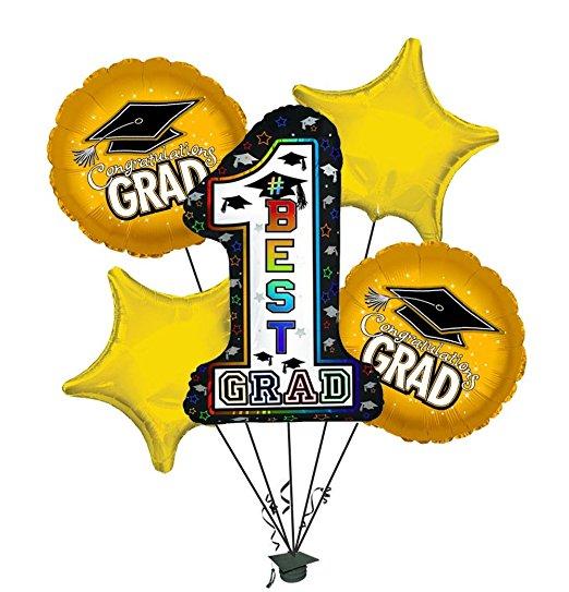 "Graduation ""#1 Best Grad"" Green Shape-A-Loon Balloon Bouquet"