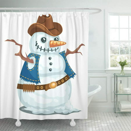 PKNMT Cowboy Snowman in The Western Style Hat Christmas Man Snow Bandoleer Branches Waterproof Bathroom Shower Curtains Set 66x72 inch