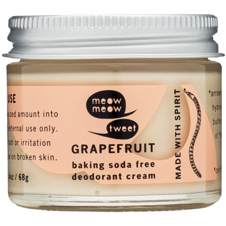 Natural Gentle Deodorant (Baking Soda Free Sensitive Skin Grapefruit Deodorant Cream, A gentle, sensitive skin natural deodorant cream that is baking soda free and works! By Meow Meow)