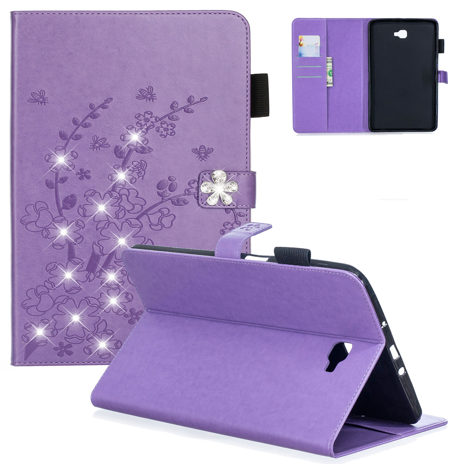 "Galaxy Tab A 10.1"" Case, Samsung Galaxy Tab A 10.1"" SM-T580 SM-T585 Cover, Allytech 3D Plum Blossom Series PU Leather Multi-Card Slots Wallet Case with Kickstand for Samsung 10.1-inch Tablet, Purple"
