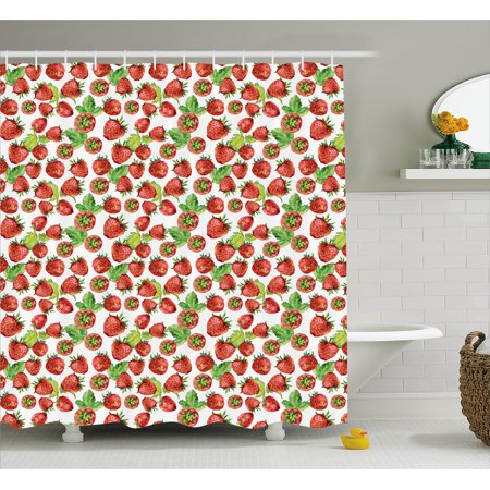Kitchen Shower Curtain, Vibrant Strawberry Figures Watercolor Stylized Yummy Cute Sweet Fruits Artwork, Fabric Bathroom Set with Hooks, 69W X 84L Inches Extra Long, Lime Green Red, by -