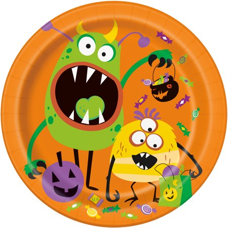 Silly Monsters Halloween Paper Plates, 9 in, 8ct - Monster Finger Sandwiches Halloween