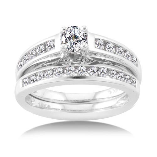 1 Carat Diamond White Gold Bridal Set