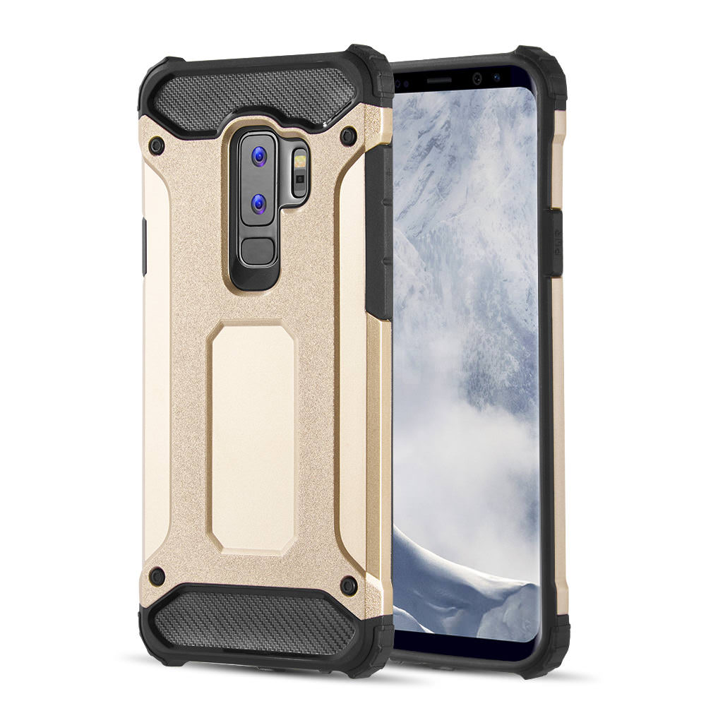 MUNDAZE Gold Performance Double Layered Soft and Hard Shell Case For Samsung Galaxy S9 Phone