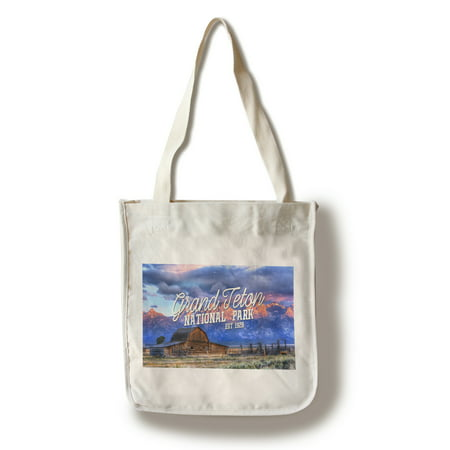 Grand Teton National Park, Wyoming - Barn & Sunset - Distressed Script - Lantern Press Photography (100% Cotton Tote Bag - Reusable)