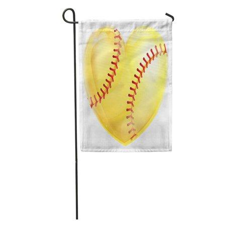 LADDKE Baseball Heart Shaped Yellow Softball Ball for Love of The Game Graphic Hart Garden Flag Decorative Flag House Banner 12x18 (Hart Flags)