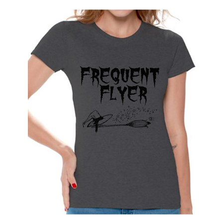 Awkward Styles Frequent Flyer Tshirt Halloween Witch Women's Shirt Funny Halloween Shirts for Women Dia de los Muertos Outfit Halloween Holiday Party Gifts Day of the Dead T-Shirt Halloween Shirt - Gifs De Halloween