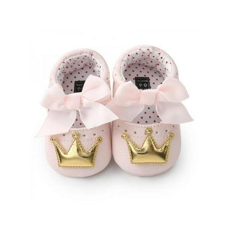 415640da64e4 Sweetsmile - Sweetsmile Fashion Newborn Baby Girl Shoes Butterfly Crown Anti -slip Soft Sole Princess First Walker PU Crib Shoes - Walmart.com