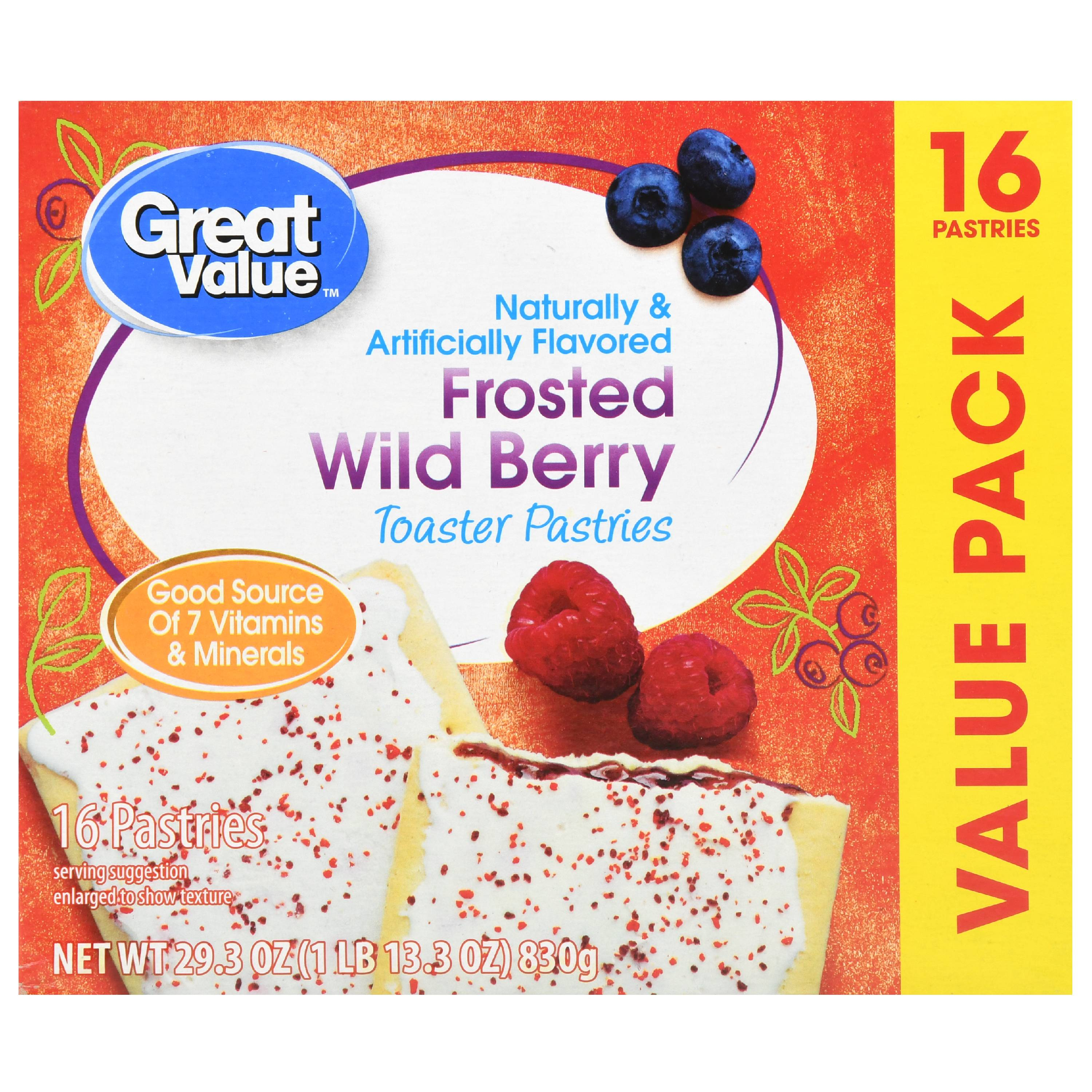 Great Value Frosted Toaster Pastries, Wild Berry, 16 Count