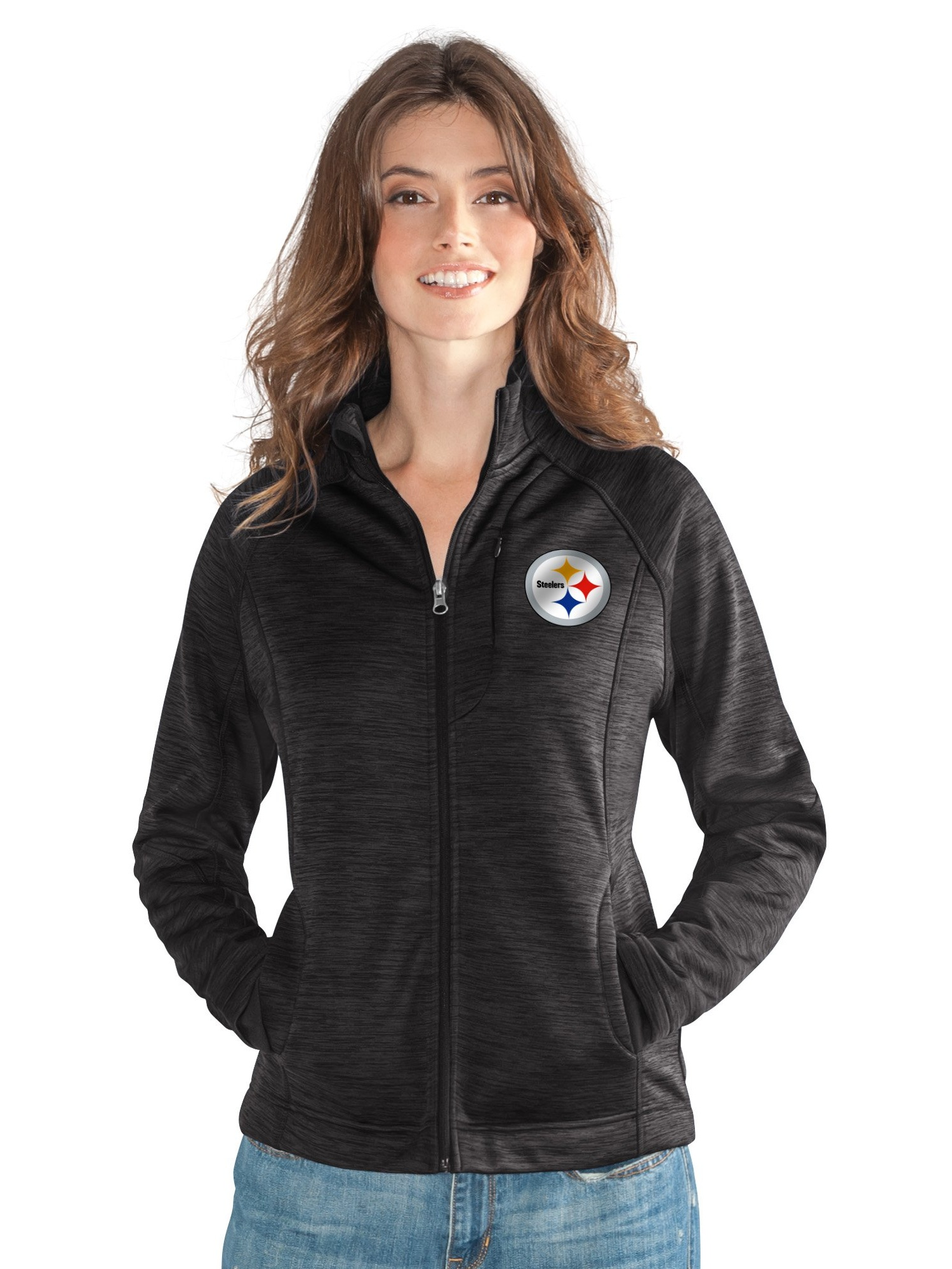 Pittsburgh Steelers Women's Full Zip Heathered Black Track Jacket by G-III 4Her by Carl Banks