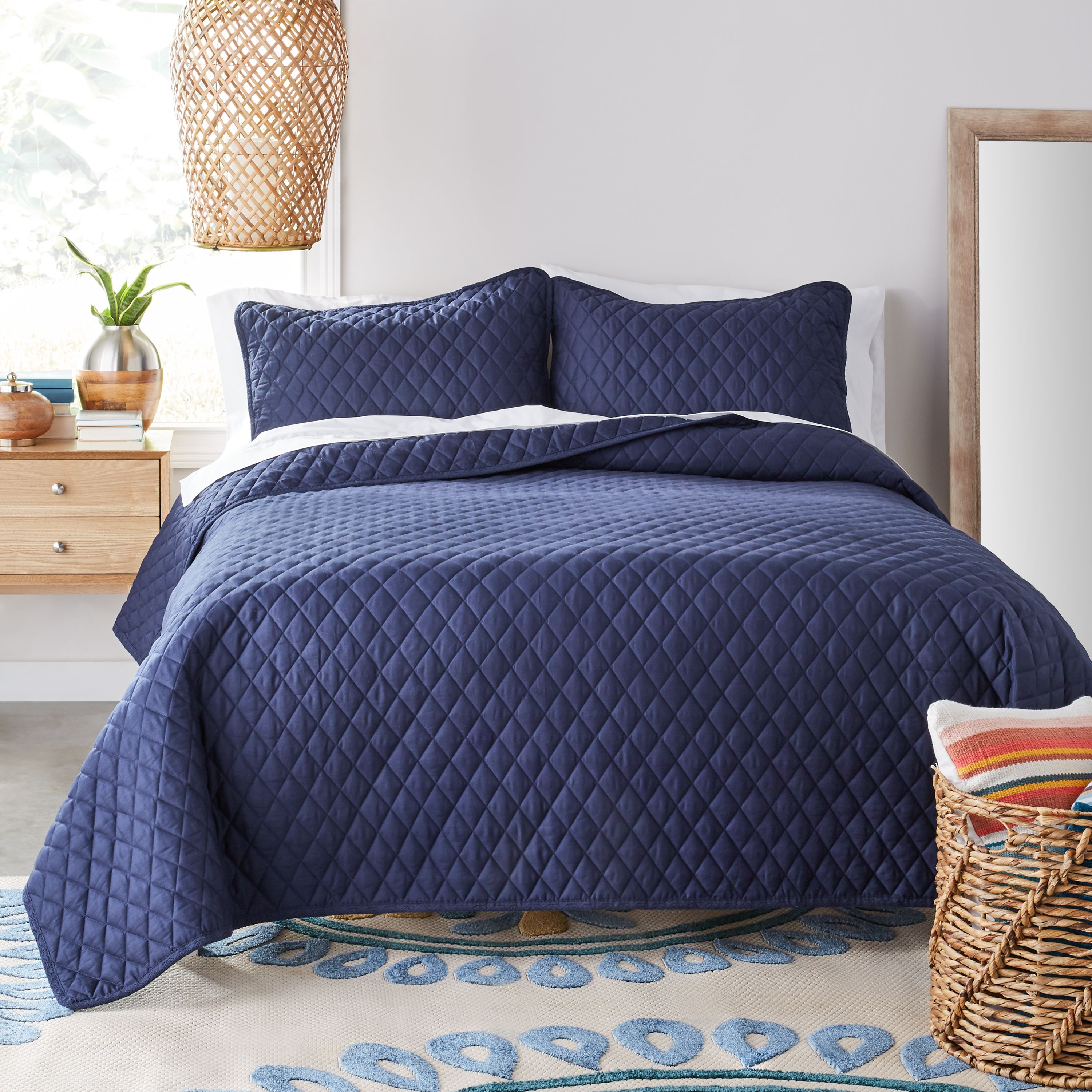 Better Homes & Gardens Navy Blue Diamond Crochet Quilt Set