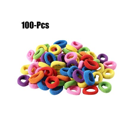 Coxeer 100Pcs Girls Hair Ties Assorted No Crease Elastic Hair Ties Rope Hair Bands Rope for Kids (Assorted Hair Elastics)