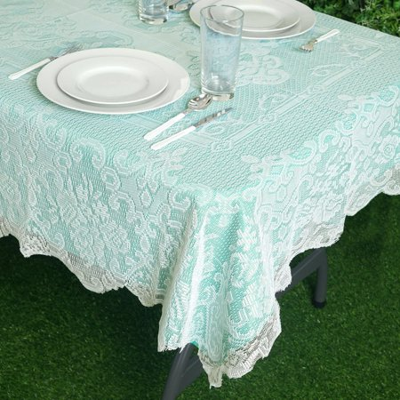 BalsaCircle 54-Inch x 72-Inch Rectangular Tablecloth with Floral Lace Table Linens Wedding Events Party Dining Decorations