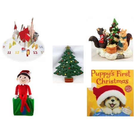 Christmas Fun Gift Bundle [5 Piece] - Olive, the Other Reindeer Pop-Up Advent Calendar - Forest Friends Gingerbread Tree Resin Figurine - Wrought Iron  Tree Trivet - Elf On Shelf Large  LARGE 24
