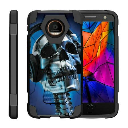 TurtleArmor ®   For Motorola Moto Z Droid Edition XT1650-01 [Dynamic Shell] Dual Layer Hybrid Silicone Hard Shell Kickstand Case - Skeleton Headphone ()