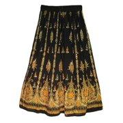 Womens Indian Sequin Crinkle Broomstick Gypsy Long Skirt (Black)