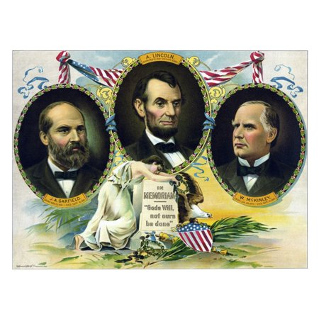 Vintage American history print of Presidents James Garfield Abraham Lincoln and William McKinley It includes the dates of their births and deaths and reads In Memoriam God s will not ours be done (Michael Jackson Birth Date And Death Date)