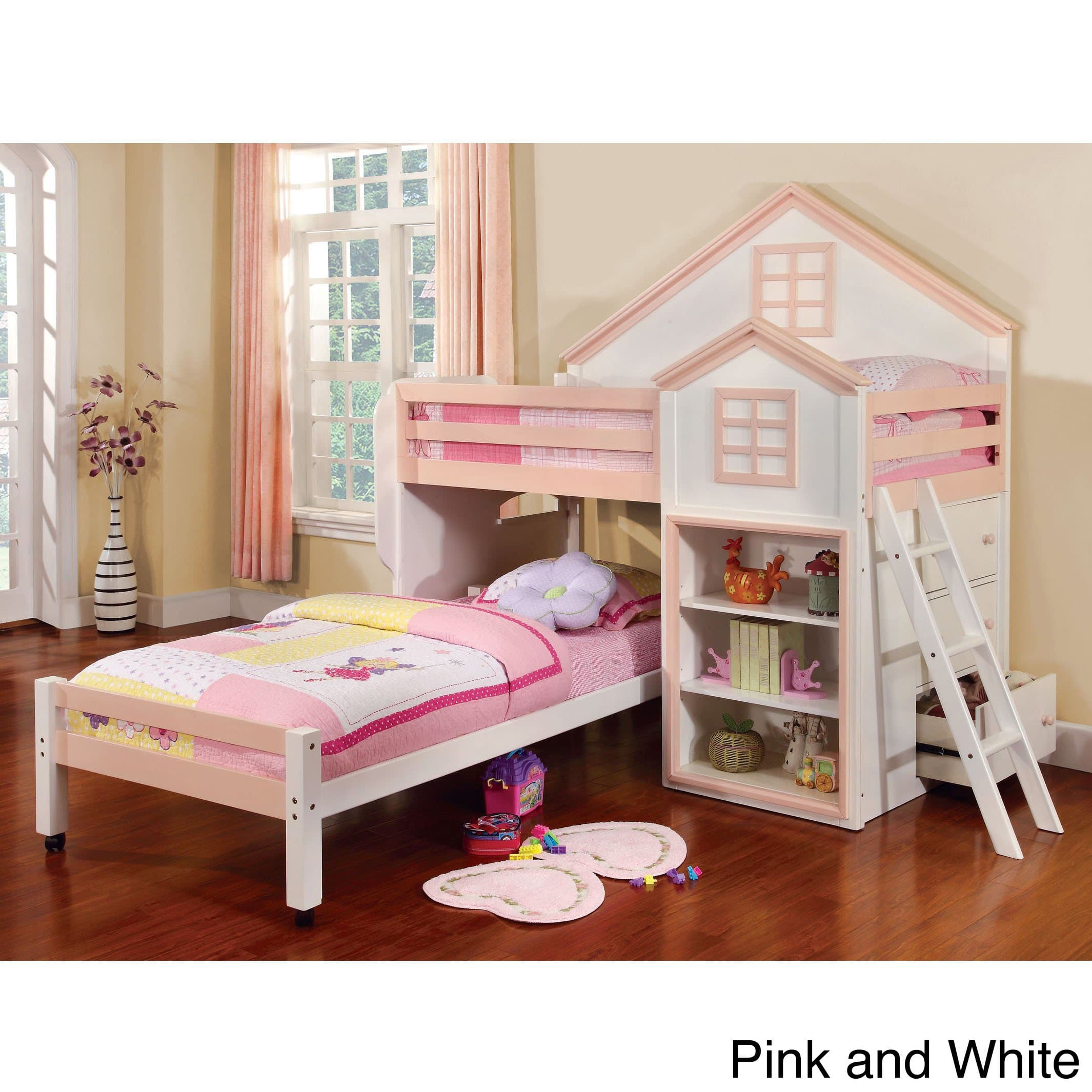 Furniture of America Ecandor Contemporary Twin over Twin Loft Bed by FOA