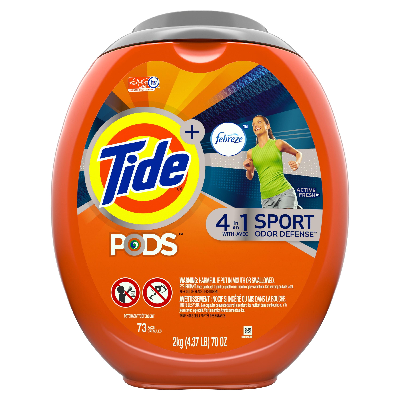Tide PODS Plus Febreze, Sport Odor Defense Liquid Laundry Detergent Pacs, Active Fresh Scent, 73 count