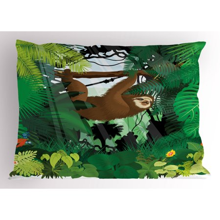 - Sloth Pillow Sham Vibrant Exotic Rainforest with Various Plants and Sloth Hanging on a Tree Wildlife, Decorative Standard Queen Size Printed Pillowcase, 30 X 20 Inches, Green Brown, by Ambesonne