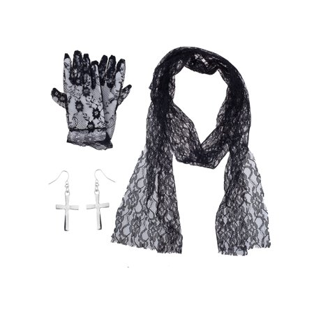 Lux Accessories Black Floral Lace Gloves Scarf Silver Cross 80's Costume Set](Halloween 80's Costumes For Couples)